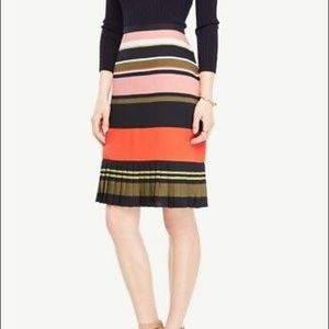 Ann Taylor Factory Striped Pleated Hem Skirt